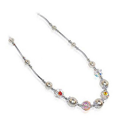 White Simulated Pearl & Swarovski Elements Clear Crystal Sterling Silver Necklace