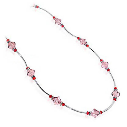 925 Sterling Silver Pink Crystal Necklace Made with Swarovski Elements