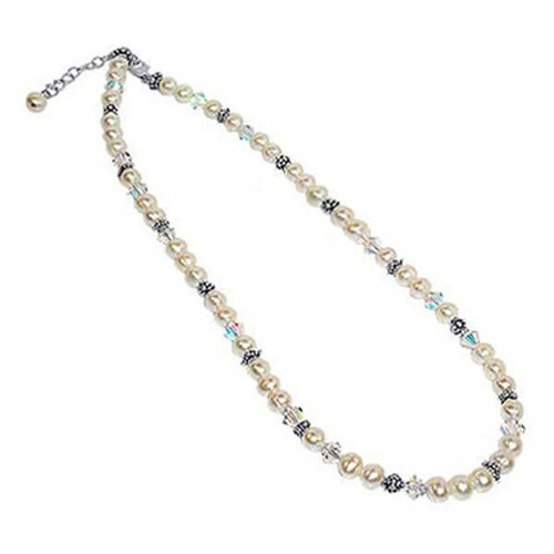Sterling Silver Pearl Necklace with Crystal #SCNK056