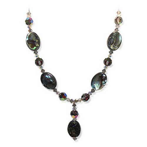 925 Sterling Silver Dyed Abalone Necklace with Swarovski Elements Crystal
