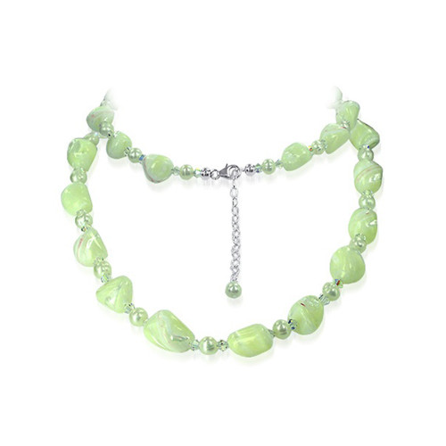 925 Sterling Silver Nugget Pearl Necklace Crystal #SCNK091
