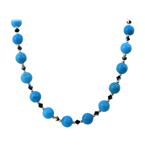 925 Sterling Silver Turquoise Beads Necklace with Swarovski Elements Crystal