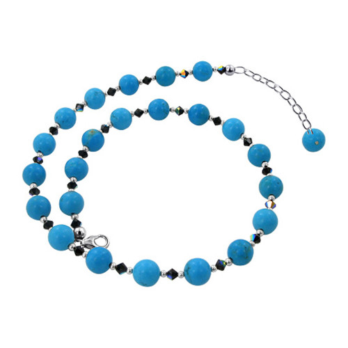 Sterling Silver Turquoise Beads Necklace with Crystal