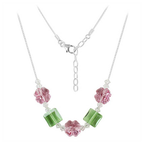 """Silver Light Rose and Peridot Color Crystal Necklace 16"""""""