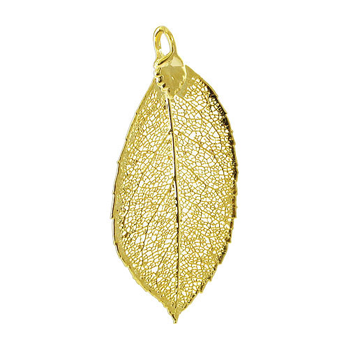 24k Yellow Gold Plated over Real Elm Leaf Pendant