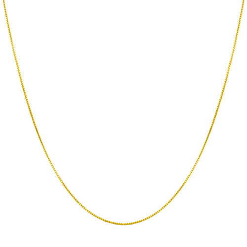 14k Gold over Silver 1mm Box Chain Necklace