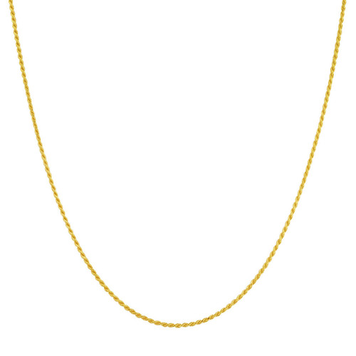 14k Gold over Silver Vermeil 1.5mm Rope Chain Necklace