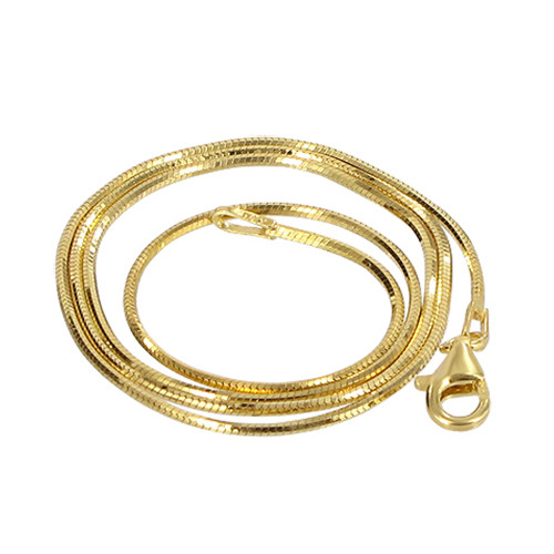 14k Gold over 925 Silver 1mm Snake Chain Necklace