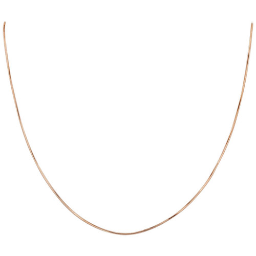 14k Rose Gold over .925 Sterling Silver Vermeil 1mm Diamond-Cut Snake Chain Necklace