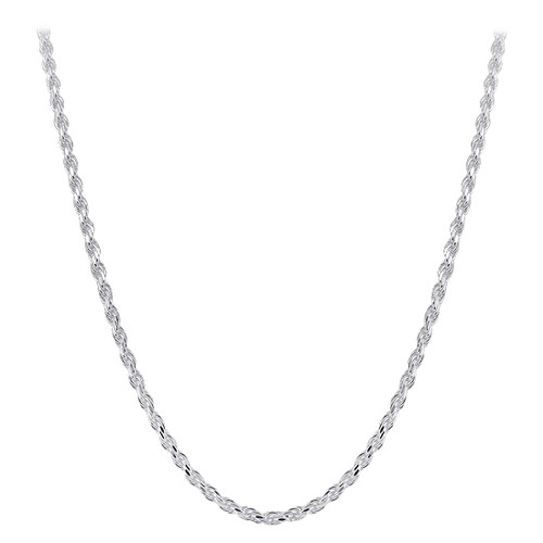 Italian 925 Silver Faceted Cut Rope Chain Necklace
