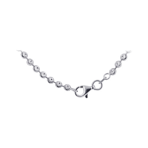 Men 925 Silver Rhodium plated Moon Design 3mm Chain Necklace