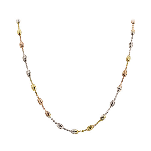 Italian 925 Sterling Silver Tri Color 3mm Chain Necklace