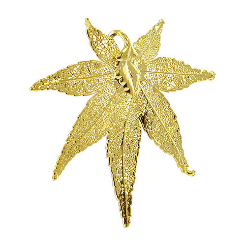 24k Gold Plated over Real Japanese Maple Leaf Pendant