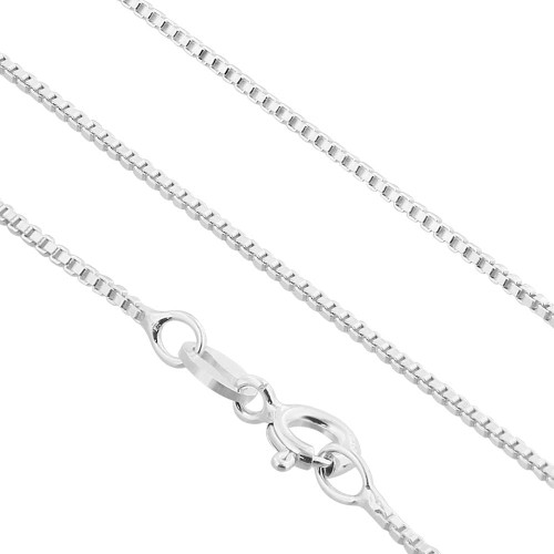 "1mm Sterling silver Box Link Chain Necklace 14"" -30"""