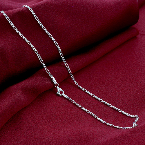 "Italian 925 Silver 2mm Figaro Link Chain Necklace 16"" - 30"""