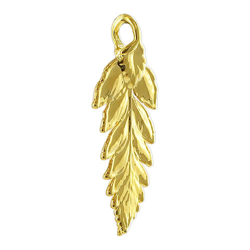 24k Yellow Gold Plated over Real Fern Leaf Pendant