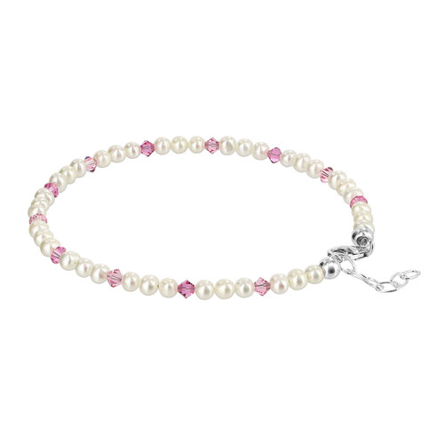 925 Silver Swarovski Rose Crystal and White Freshwater Pearl Anklet 9 to 10 inch Adjustable
