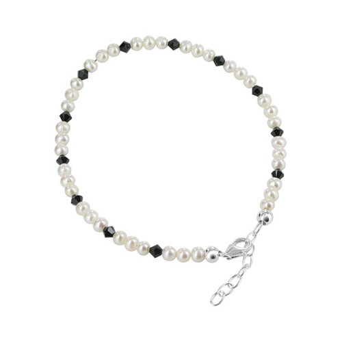 "925 Silver Swarovski Elements White Freshwater Pearl & Crystal Ankle Bracelet 9 to 10"" Adjustable"