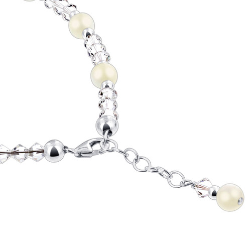 Sterling Silver Pearl With Crystal Anklet