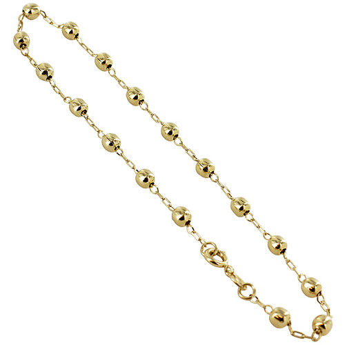 18k Gold Layered 4mm Ball Ankle Bracelet with Spring Ring Clasp #HOAG013