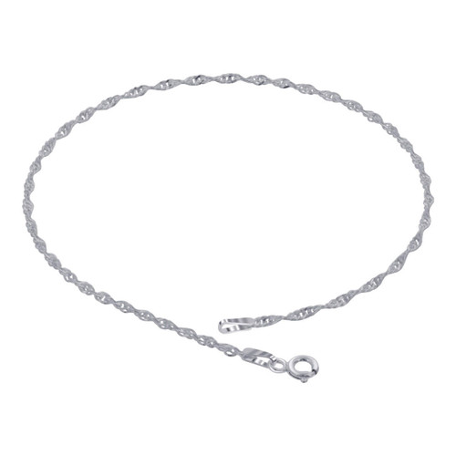 925 Sterling Silver Singapore Foot Chain Anklet for women with Spring Ring Clasp 9 to 11 inch