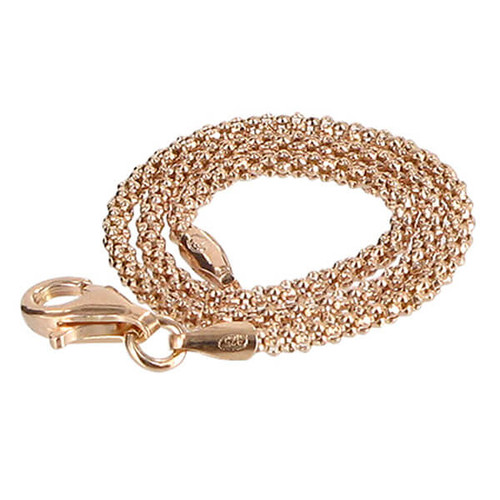 14k Gold Over 925 Silver Popcorn Chain Ankle Bracelet