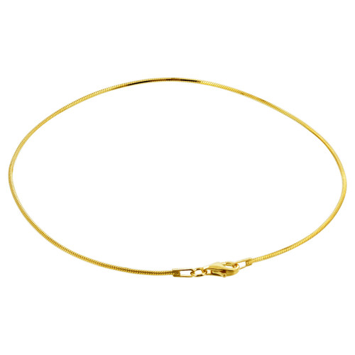 14k Yellow Gold Over Sterling Silver Snake Chain Ankle Bracelet