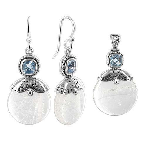 Mother of Pearl Earrings Pendant Set