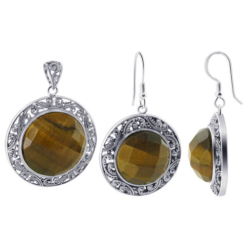 925 Silver Faceted Simulated Tiger Eye Earrings & Pendant Set