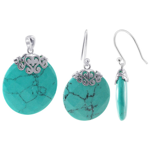 925 Sterling Silver Reconstituted Round Turquoise Earrings Pendant Set