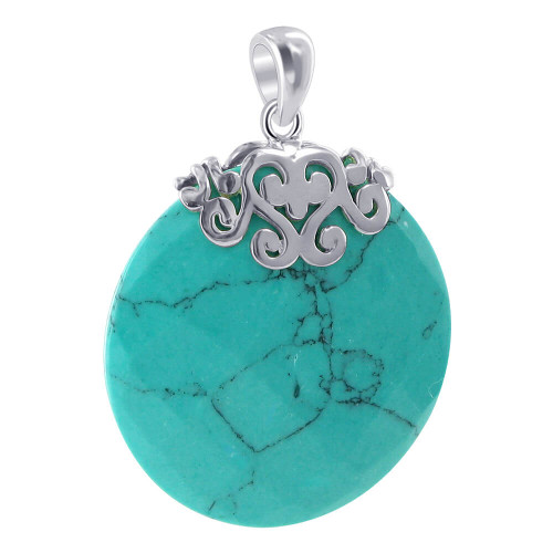 925 Sterling Silver Reconstituted Round Turquoise Earrings Pendant Set #AFST025