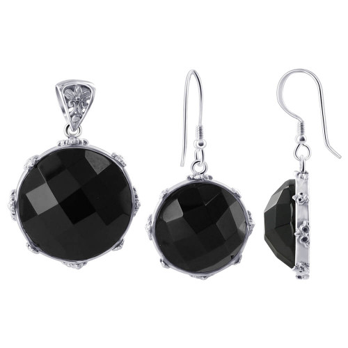 925 Sterling Silver Multi Faceted Black Onyx Earrings Pendant Set #AFST030