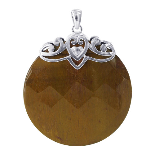 925 Sterling Silver Round Tiger Eye Earrings Pendant Set #AFST043
