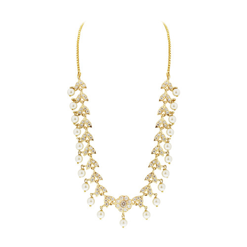 Gold Plated White Pearls and Glass Stones Earrings and Box Chain 16 Inch Necklace Set #MNST001
