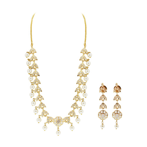Gold Plated White Pearls and Glass Stones Earrings and Box Chain 16 Inch Necklace Set