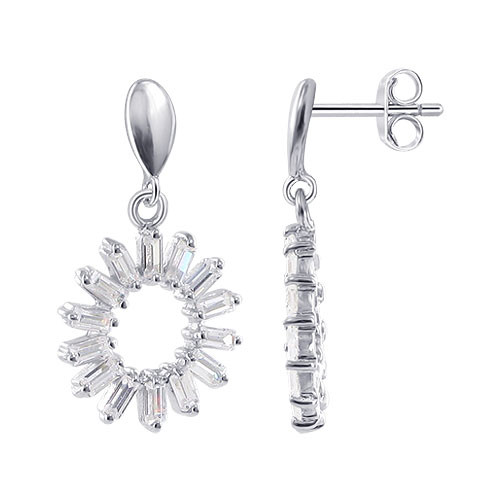 Sterling Silver Rectangular Clear CZ Post Back Round Cut Earrings and 17mm Pendant Jewelry Set