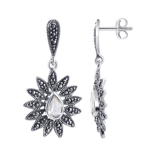 925 Silver Clear CZ and Marcasite Accents Post Back Stud Earrings and Pendant Jewelry Set #RUST059