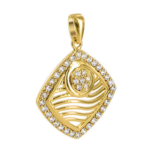 Gold Plated Clear CZ Designer Wave Post Back Stud Square Earrings and 23mm Pendant Jewelry Set