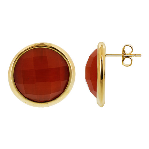 Gold Tone Round Orange Stone Earrings and Pendant Set