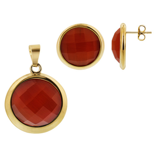 Stainless Steel Gold Tone Faceted Round Orange Stone Earrings and Pendant Set