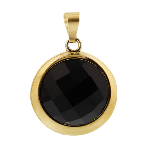 Stainless Steel Gold Tone Faceted Round Black Stone Earrings and Pendant Set #TSSSST003