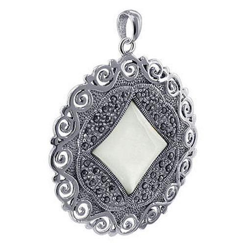 925 Silver Marcasite Floral Design and Mother of Pearl Dangle Earrings Pendant Jewelry Set #ZFST015