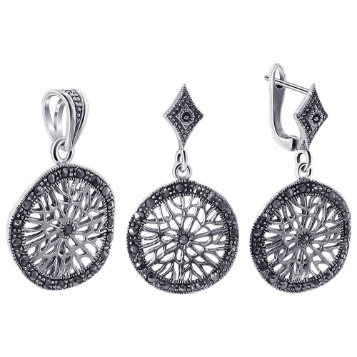 Sterling Silver Dangle Earrings Pendant Jewelry Set