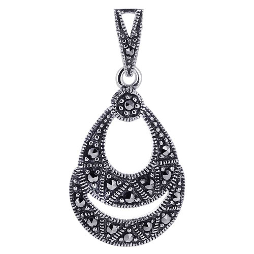 925 Sterling Silver Marcasite accented Pear Shape Earrings Pendant and Rings Jewelry Set #MSST003