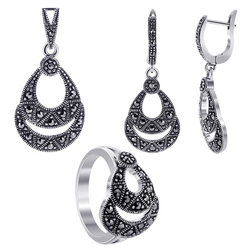 925 Sterling Silver Marcasite accented Pear Shape Earrings Pendant and Rings Jewelry Set