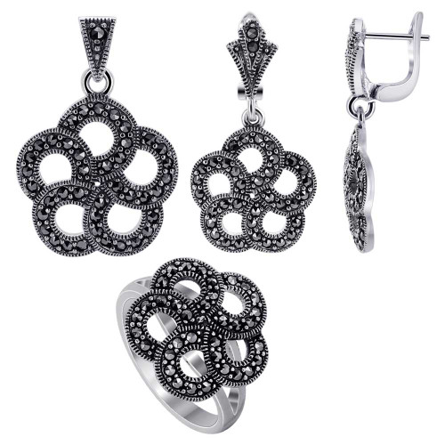 Sterling Silver Marcasite accented Round Floral Design Earrings Pendant & Rings Jewelry Set