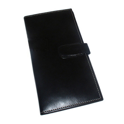Leather Passport Boarding Pass Ticket Wallet Black and Brown