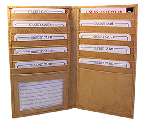 Mens Womens Leather Credit Card Holder 7 x 4 inch Wallet Tan Color Wallet