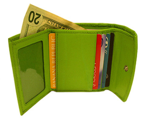 Genuine Lambskin Leather Credit Card Holder Wallet Available in Baby Blue, Green, Pink Color #MW1571