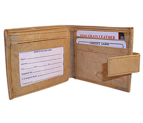 Mens Leather 9 Credit Card Holder 4 x 3 inch Wallet with Safety Closure Available in Different Colors